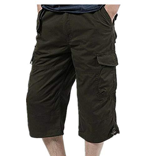 (Men Pants Daoroka Men's Plus Size Casual Loose Stretch Baggy Pocket Beach Work Short Fashion Sport Overalls Trouser (2XL, Green))