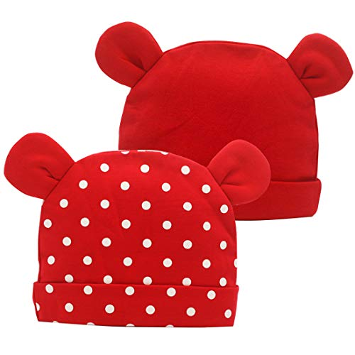Nihao Baby Hat Ears for Toddler Infant Girls or Boys Cat Bear Ear Hat Beanie Cap (Red, 0-6 Months)