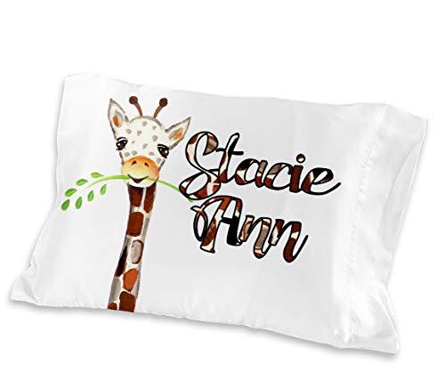 Personalized Watercolor Giraffe Kids Pillowcase ( TODDLER / TRAVEL 13 X 18