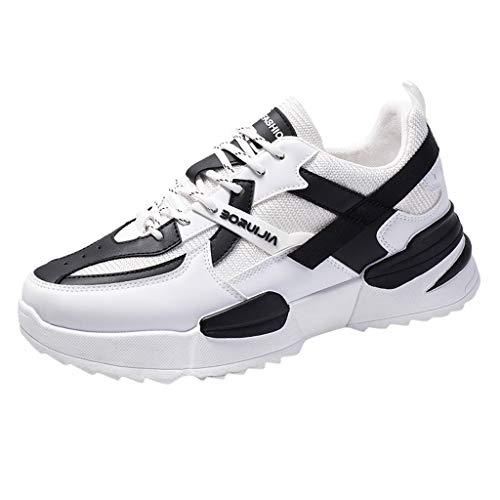 - TnaIolral Men Running Sneakers Mesh Casual Shoes Low-Top Student Breathable Shoes (US:8, White)