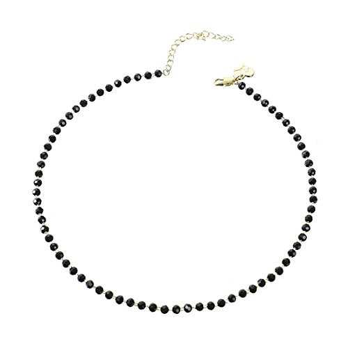 Fettero Dainty Black Bead Choker Necklace,Crystal Beaded Necklaces for Women ()