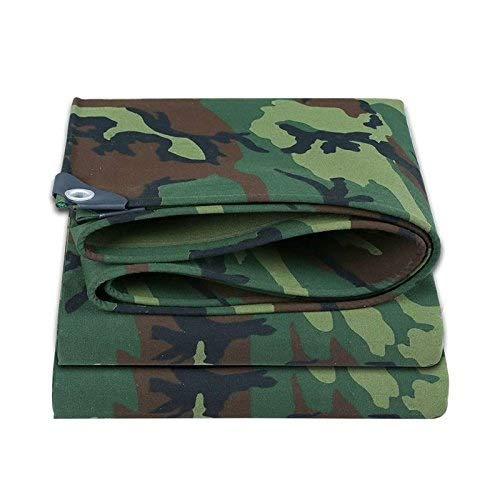 Carl Artbay Camouflage Heavy Duty Tarpaulin Scraper Sheets Cotton Canvas Fabric Awning Canopy Winter Snow Blocking Tent Sheet Ground Shelter Pad Camo Outdoor Car Furniture Plant Cover Tarpaulin