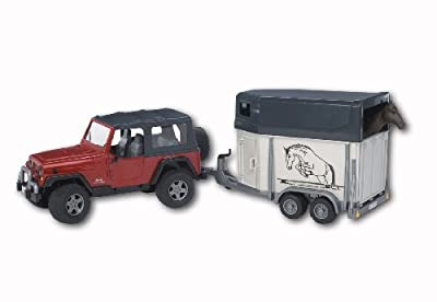 Bruder Toys Jeep Wrangler Unlimited W Horse Trailer Incl 1 Horse by Bruder