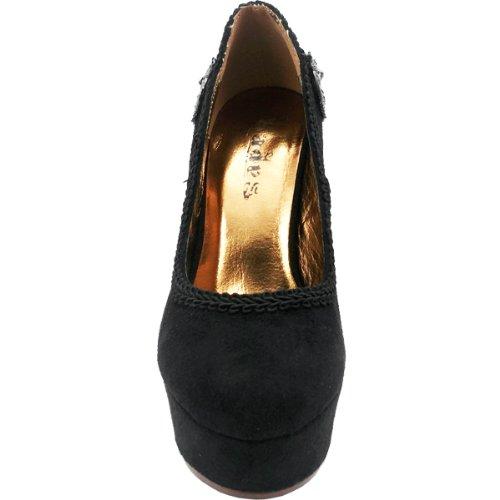 Hades Zapatos - Juana La Loca Stiletto Plataformas Negro
