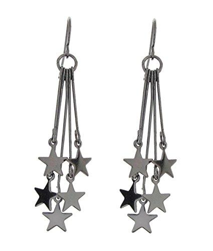 DaisyJewel Gunmetal Star Spangled Dangle Earrings