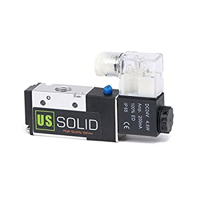 """1/4"""" NPT Pneumatic Electric Solenoid Valve 3 Way 2 Position DC 24V by U.S. Solid"""
