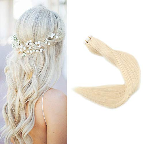 Full Shine Fashion Tape Hair Extensions Real Human Hair Couture Short 12 Inch Color #60 Platinum Blonde Tape In Remy Extentions 20 Pieces 30G Full Thick Ends Hair Piece For Invisible Tape Extensions (60 Blonde Hair Extensions)