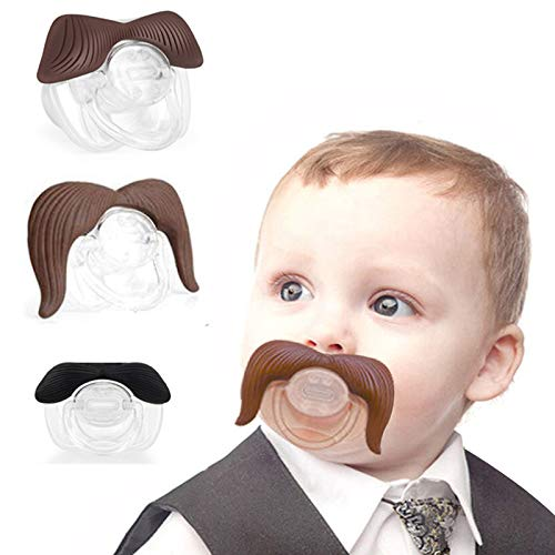 3Pcs Cute Gentleman Mustache Pacifier for Baby, Newborn Infant Pacifier Gift BPA Free Latex Free made With Silicone (B) ()