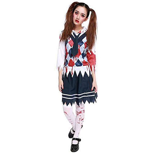 Dead School Girl Costume (Halloween Costume Women's Blood Print Cosplay School Dead Walking Girl Uniform)