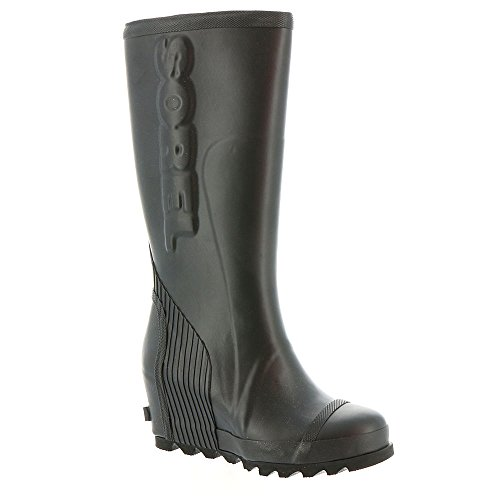 Sorel Women's Joan Tall Rain Wedge Boots, Black/ Sea Salt, 9 B(M) US by SOREL