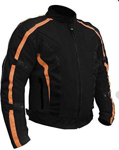 Bikers Gear Australia Chicane Lightweight Summer Air Flow Mesh Vented Motorcycle Jacket with CE 1621-1 Removable Armour Waterproof Liner Cordura Black Orange XL 42