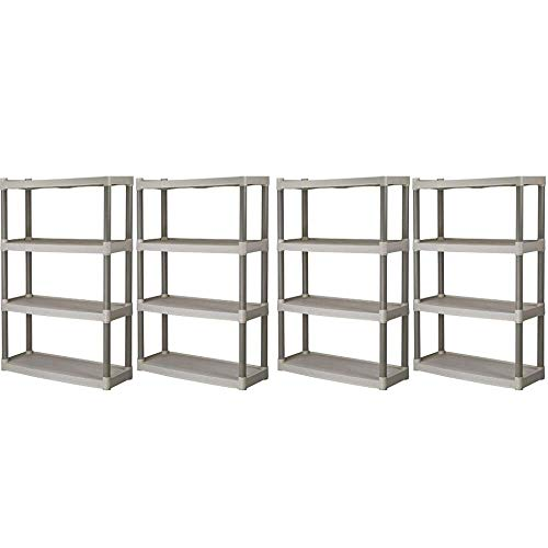 Plano 4-Shelf Heavy Duty Plastic Storage Unit, Pack of 4 + Freebies