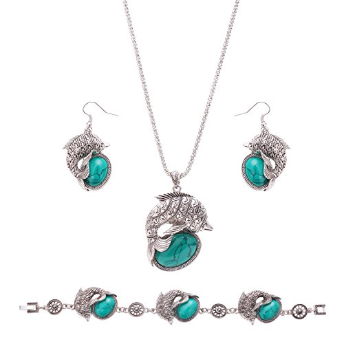 OUFO Women Fashion Dolphin Style Turquoise Jewelry Elegant Bracelet Necklace Earring Ocean Fish Charm Sets (Benefit Card Costume)