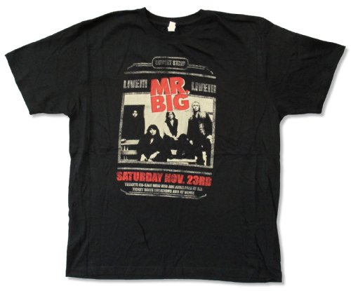 Live Nation Adult Mr  Big  Sunset Strip  Black T Shirt  X Large