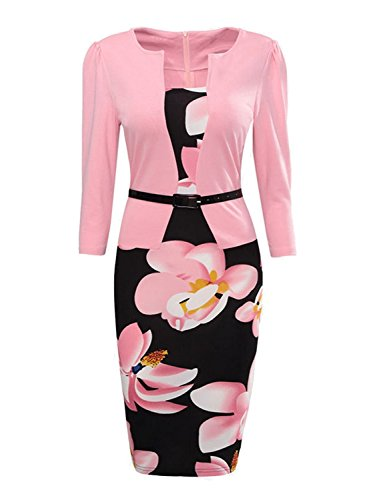 Women Colorblock Wear to Work Business Party Bodycon Dress (Pink,2XL)
