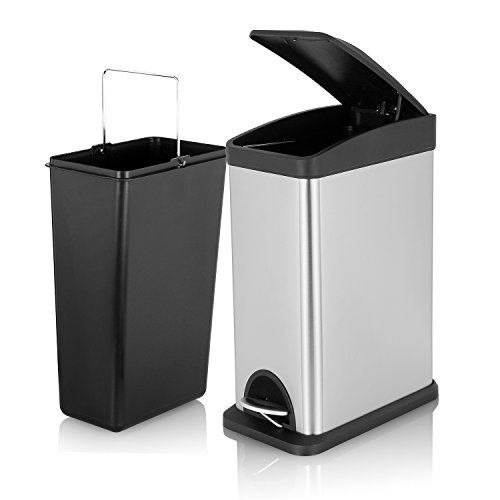 Fortune Candy Rectangular Stainless Steel Trash Can with Pla
