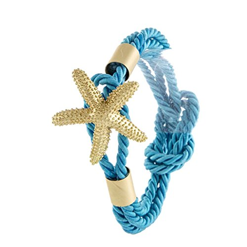 Drop of Silver Blue & Gold Tone Textured Starfish Ornate Nautical Twisted Rope -