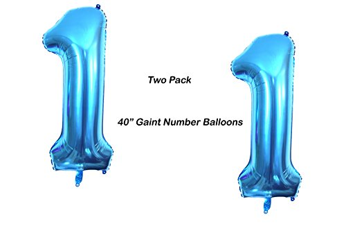 Large Mylar Foil 40 inch Number 1 Balloon Blue by PartyPlace, 1st Birthday Decorations Blue Gaint 1 Balloon Shiny High Quality (Blue) - 2 - Balloons Birthday First