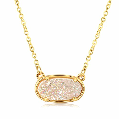 Ellena Rose Dainty Drusy Necklace - 14K Gold Plated Oval Druzy Pendant Necklace For Women (White)
