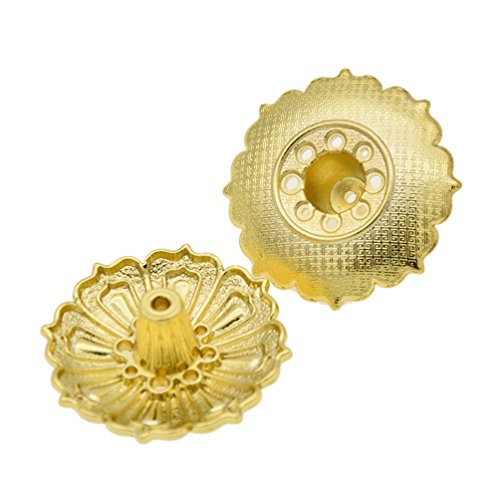 Novelty Incense Burner - Vintage Brass Lotus Shape Incense Holder 9 Holes Incense Sticks Burner 2 Pcs