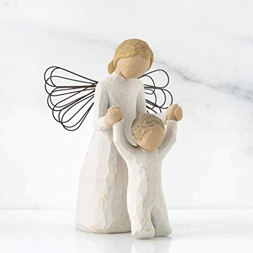 FIGURA WILLOW TREE ANGEL CON NINO MULTICOLOR RESINA ENESCO