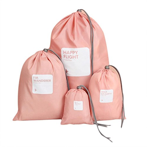 Storage Bag ,IEason Clearance Sale! 4Pcs Waterproof Nylon Travel Storage Bag Home Drawstring Organize Pouch (Pink)