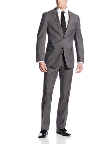 Tommy Hilfiger Men's Nathan Stripe 2 Button Side Vent Suit, Gray, 46 Long