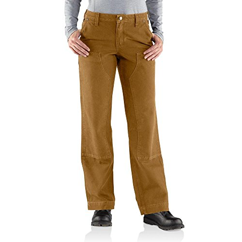 Canvas Jeans Carhartt (Carhartt Women's Relaxed Fit Sandstone Kane Dungaree Pant,Carhartt Brown,10)