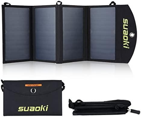 SUAOKI 25W Cargador de panel solar portátil, placa solar plegable, con 2 USB puerto de tecnología TIR-C, compatible con iPhone, iPad, Samsung y otros ...