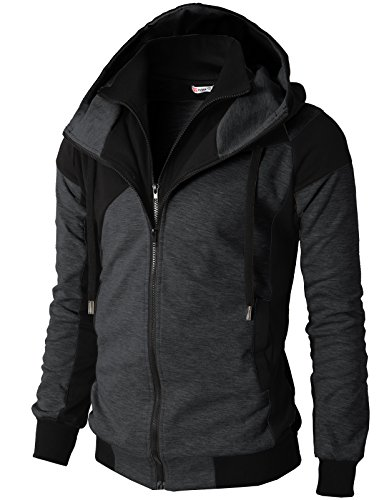- H2H Mens Hoodie Zip-Up Double Zipper Closer With Two Tone Color CHARCOAL US L/Asia XL (KMOHOL076)
