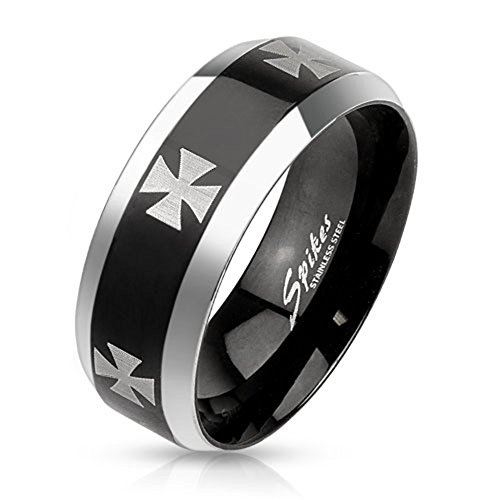 S&H JEWELRY Iron Cross Laser Etched Stainless Steel Black IP Center Band Ring with Beveled Edge (9) (Etched Laser Cross)