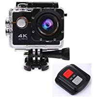 SYL PLUS 4K Ultra HD Water Resistant Sports Wi Fi Action Camera with Remote Control and 2 Inch Display (16MP, Black)