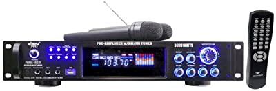 Pyle PWMA3003T 3000W Hybrid Pre Amplifier with AM/FM Tuner/USB/Dual Wireless Mic by Sound Around
