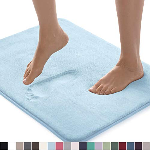 Gorilla Grip Original Thick Memory Foam Bath Rug, 30x20, Cushioned, Soft Floor Mats, Absorbent Premium Bathroom Mat Rugs, Machine Washable, Luxury Plush Comfortable Carpet for Bath Room, Light Blue