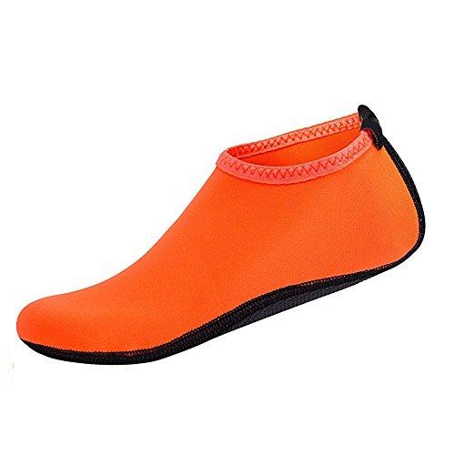 Unisex Surfschuhe Wasserschuhe Herren Shoes Wassersportschuhe Orange Damen Strandschuhe Couple Strandschuhe Sohlen Badeschuhe für Surfschuhe Rutschfeste rxrSvqO