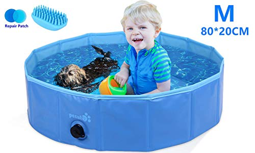 🥇 Pecute Piscina Perros y Gatos Bañera Plegable PVC Antideslizante y Resistente al Desgaste