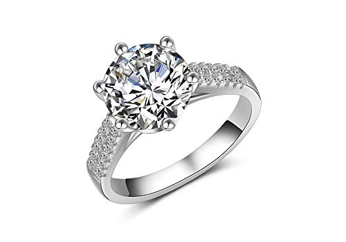 BeFab White Gold Plated Brilliant Cut Cubic Zirconia 3 Ct Round Solitaire Ring Half Eternity Band (Silver, (3ct Brilliant Solitaire)