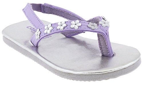 Capelli New York Matte Faux Leather Thong with Daisy Gems Toddler Girls Flip Flops Purple Combo 8/9 ()