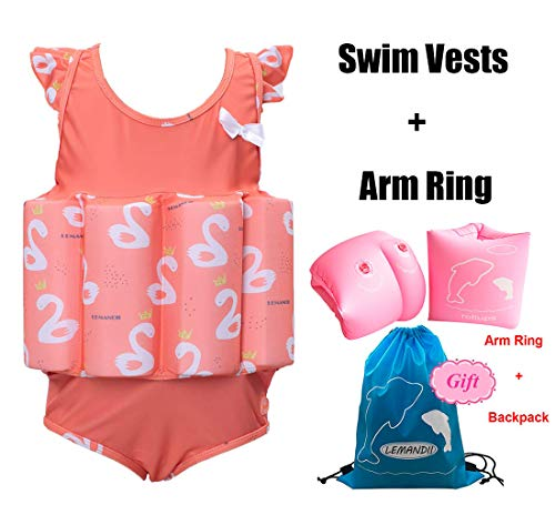 Lemandii One-Piece Children Buoyancy Swimsuit Swim Vest Detachable Float Swimwear, Perfect for Kids or Baby Learn to Swimming (Flamingo, M)