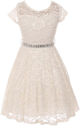 Holy Mud (Flower Girl Dress Cap Sleeve Jewel Belt Floral Lace All Over for Big Girl Off White 6 JK19.88S)