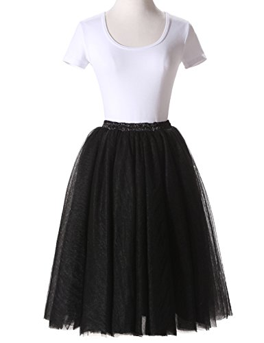 [JoJoBridal Women's Tulle Tutu Ballet Multi-Layer Ruffle Crinoline Petticoats Underskirt Skirts Black] (Plus Size Tutu Skirt)