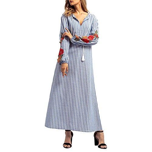 Embroidery Handkerchiefs Chinese (HITRAS Women Casual Stripe Embroidery Long Dress Islamic Elegant Maxi Robe Dress)