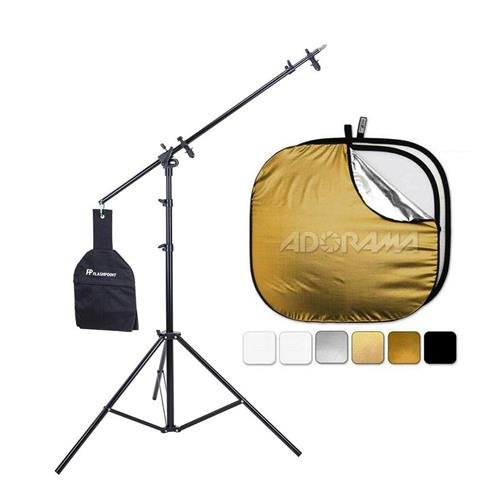 Westcott 6 in 1 Reflector Kit 42'' - Bundle with Flashpoint 11.5' 5-Section Super Light Stand/Boom Extension/Reflector Holder Arm