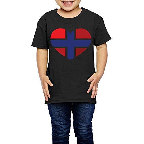 SHIRT1-KIDS Heart Shaped Norway Flag Costume Kids Boys Girls Crew Neck Short Sleeve Shirt T-Shirt for 2-6 Toddlers ()