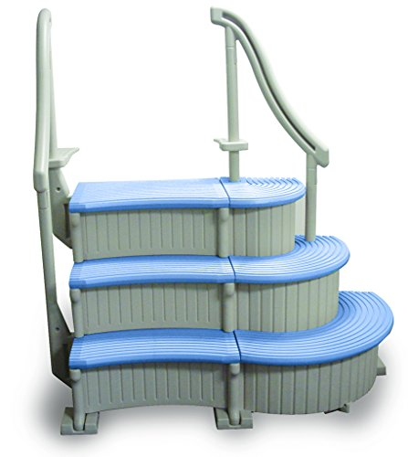 Confer Curve Complete System Inground Swimming Pool Steps with Blue Treads (Swimming Pool Complete)
