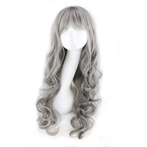 Simpleyourstyle Natural Wave Curly Ash Gray Cospaly Wigs Long Full Wigs for Women ()