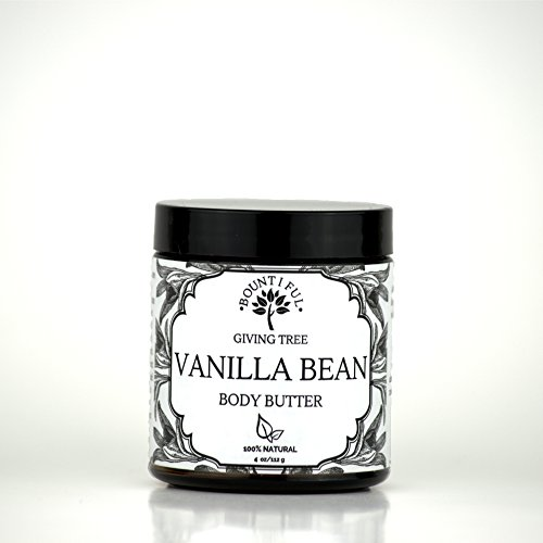 Organic Vanilla Bean Body Butter, All Natural Whipped Body Butter, All Natural Moisturizer, 4oz Glass Jar