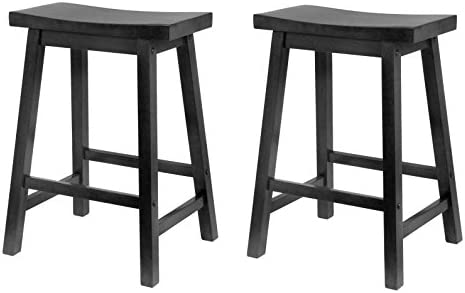 Winsome Wood 24-Inch Saddle Seat Counter Stool, Black Pack of 2