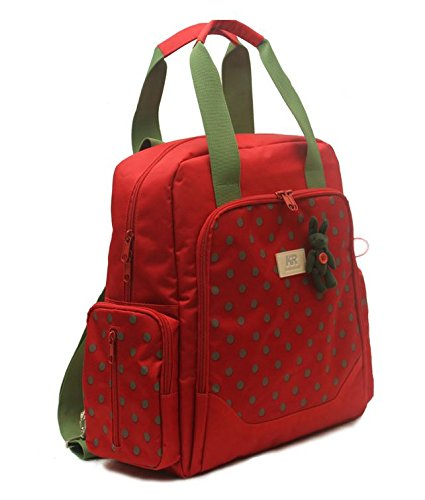 Mommy MultiFunction Nappy Diaper Baby Bag Backpack Large Red Green Polka Dots