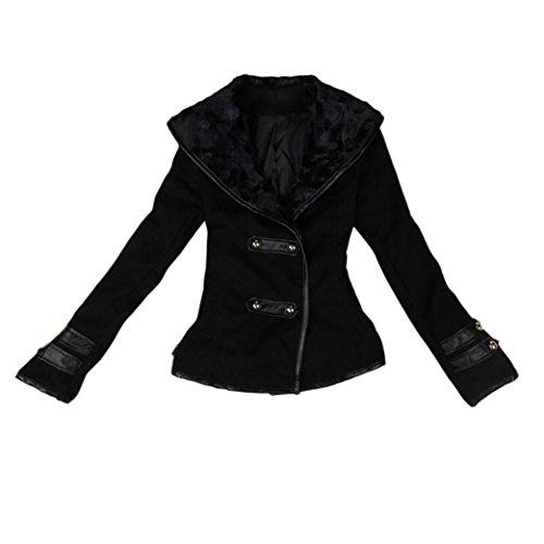 pelliccia pelliccia pelliccia donne Nero soprabito Le Le Le in Spesso Koly inverno Outwear Top collo Parka XFA1q